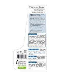Etiquette du Déboucheur biologique pour canalisations