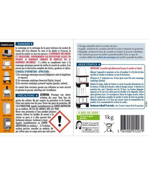Etiquette de la poudre de ramonage pour poêle et cheminée Starwax