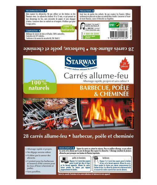 Etiquette des carrés allume-feu Starwax