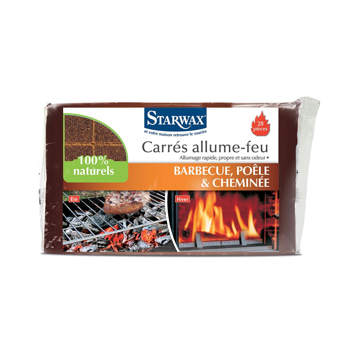 carrés allume-feu pour barbecue, poêle et cheminée | starwax