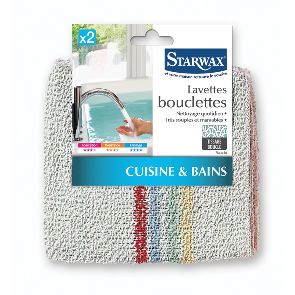 Lavette bouclettes pour cuisine et salle de bain - Starwax