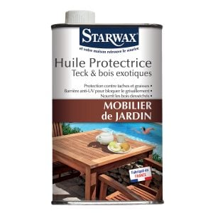 Huile protectrice pour mobilier de jardin en teck et bois exotiques