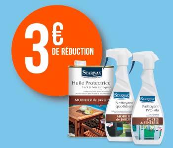 3 euros de réduction sur les produits Starwax pour l'exterieur