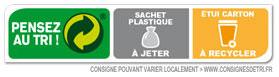 Sachet plastique à jeter et étui carton à recycler
