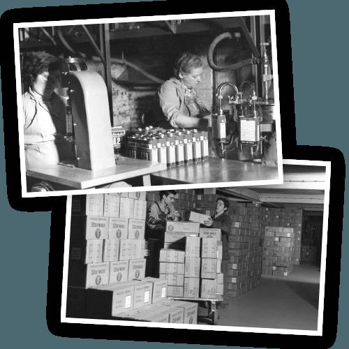 Historique : usine et cartons Starwax