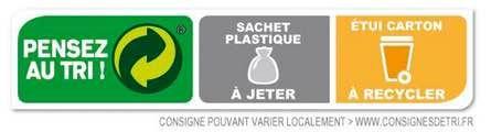 Sachet plastique à jeter et etui carton à recycler