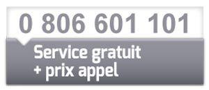 0 806 601 101 (service gratuit + prix appel)