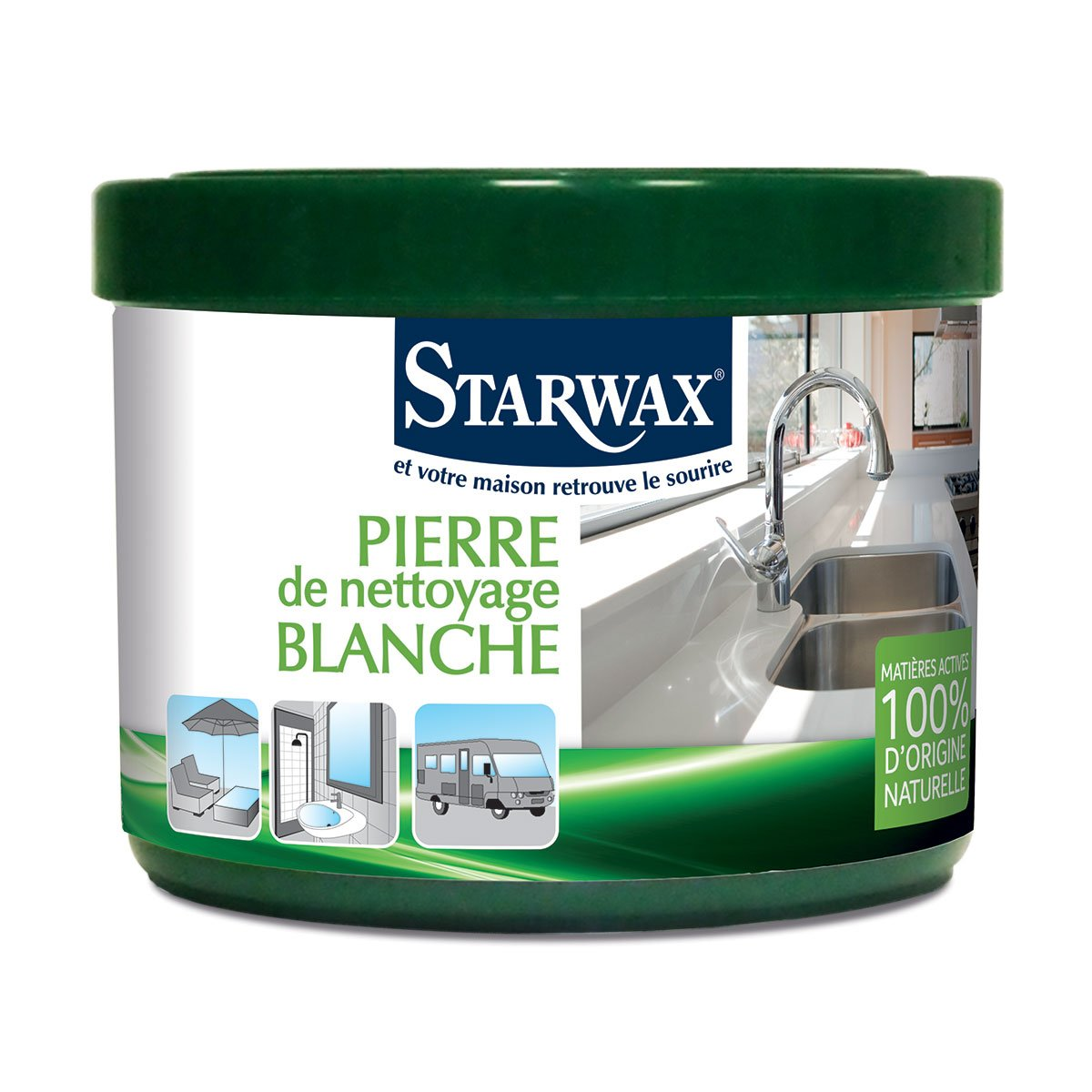 pierre blanche de nettoyage avec mati res actives 100 d 39 origine naturelle starwax produits d. Black Bedroom Furniture Sets. Home Design Ideas