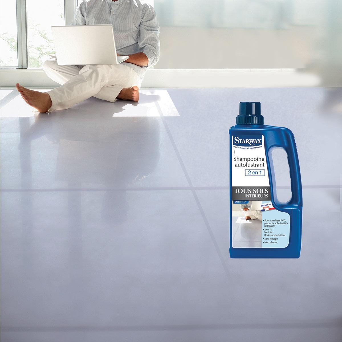 Shampooing autolustrant pour sols int rieurs 2 en 1 for Produit anti glisse pour carrelage