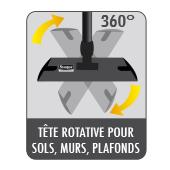 Tête rotative du balai expert Starwax pour nettoyer sols, murs et plafonds