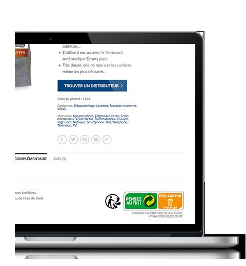 Exemple d'une fiche produit avec logo triman